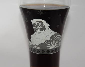 "Coca Cola Glass, 1999 Soda Fountain, Glass With Snow White Santa Claus And Logo, French, Coca Cola Collectible Glass ""Savourez Coca-Cola"""