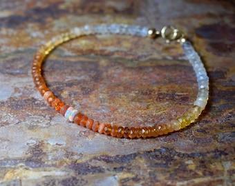 Fire Opal & Ethiopian Opal 14k Gold Filled Gemstone Bracelet, Natural Opal Jewellery, October Birthstone Bracelet, Jewelry UK