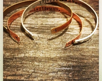 Hand Stamped Birthdate Inital Cuff Bracelets|Copper Gold 14K Pewter Personalized Hammered Handcrafted Cuffs|