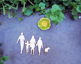 family wooden Littles 1961 embellishment