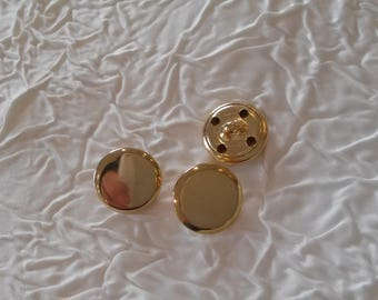 12 buttons vintage haute couture metal gold. 16 mm.