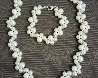 White pearl necklace and bracelet with rhinestone Rondelle, handmade, wedding