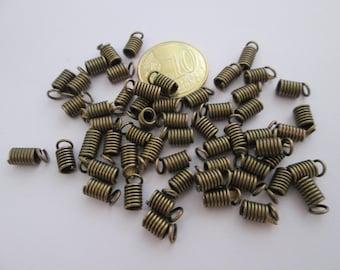 Lot de 30 embouts ressort métal bronze  8 x 4mm