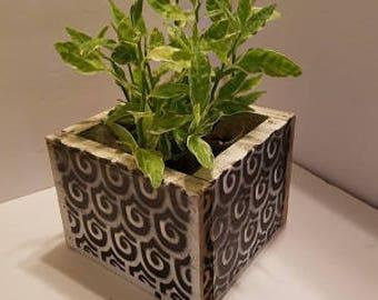 Wood Plant Box, Salvage wood plant box, flower box, Black Retro design wood box, geometric design box, wedding center piece, center piece,