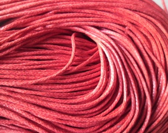 x 5 meters of waxed cotton cord 1.5 mm red color
