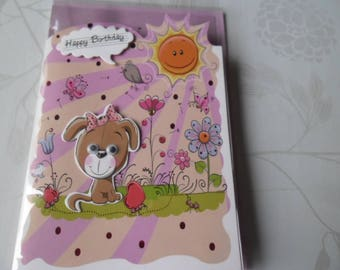1 x double dog/flower multicolored pattern 3D card + envelope pink 18 x 12 cm
