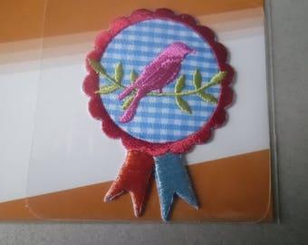 x 1 fusible applique 100% polyester flower bird 6,5 x 4,5 cm