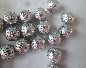 spacer beads 10 x 10 mm silver filigree ball