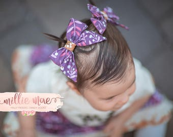 Girls Fall Bows- Vintage Purple Floral and Yellow- 4 inches