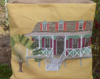 """""""Colonial House"""" pillow: yellow decor tapestry cover with Palm tree"""