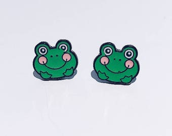 Keroppi Enamel Studs / San Rio Studs / Animated Studs / Keroppi Earrings