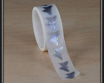 masking tape Butterfly silver on white 15mm x 3 m
