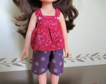 Outfit for doll 33 cm in Burgundy and plum