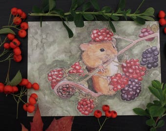 Mouse and Berries Postcard