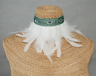 White Swan feathers and green silk ribbon with cuts of silver diamond choker.