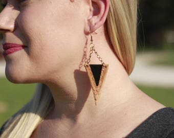 Lauren Black & Natural Triangle Earrings | Leather Earrings | Birthday Gift | Anniversary | Gifts under 25 | Handmade | Gifts for Her