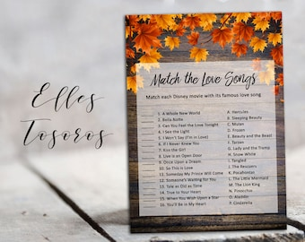 Autumn Disney Love Songs Game Match the Love Songs Printable Bridal Shower Games Disney Bridal Shower Wood Digital Games Instant Download