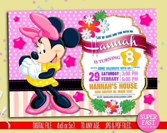 Minnie Mouse Invitations, Minnie Mouse Invitation, Minnie Mouse Birthday Invitations, Minnie Mouse Birthday, to Any age. MN01
