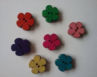 7 flowers 19mm multicolor No. 177 wood buttons