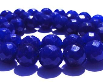 8 saphirs à facette de 8 mm perles pierre bleu nuit.