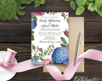 Garden Flowers Wedding Invitation Rose & Hydrangea Invitation Printable Wedding Invite Template Blue Pink Invitation Rustic Floral Invite