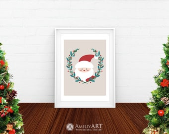 Santa Claus Art Print Christmas Printable Decor Christmas Holly Wreath Santa Claus Face Print Winter Nursery or Kids Poster Digital Download