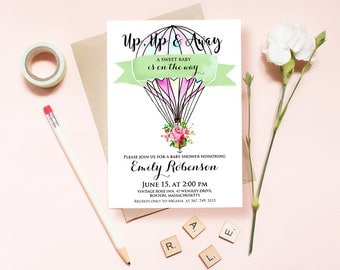 Hot Air Balloon Baby Shower Invitations Printable Invites Template Up Up and Away Party Invitation Watercolor Floral Baby Shower Invites DIY