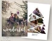 Photo Christmas Card Template, Christmas Tree Card Template, Photoshop Christmas Card Template, Holiday Card Template, PSD Template, 5x7