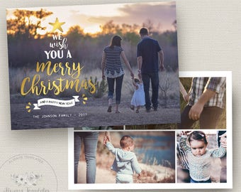 Gold Christmas Card Template, Photoshop Christmas Card Template, Photo Christmas Card Template, Holiday Card Template, PSD Template, 5x7