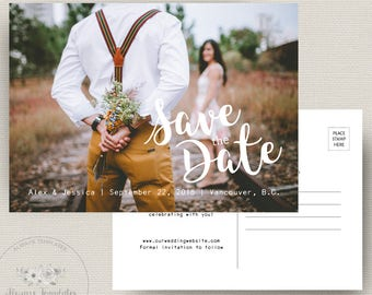 Modern Save The Date, Save The Date Postcard Template, Photo Save The Date, Printable Save The Date, Engagement Announcement,  PSD Template