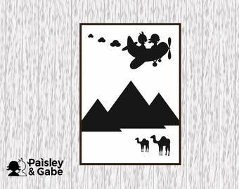 Kids Bedroom Picture | Kids Egypt | Pyramids Picture  | Camels  | A4 Picture | CardCut | Monochrome | Black&White | Aeroplane | Original Art