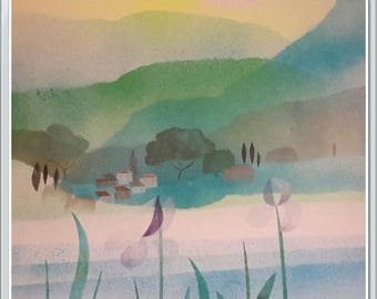 Provence landscape, Acrylic paint on stenciled