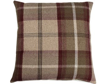 Balmoral Mulberry Checked Tartan Plaid Cushion Cover