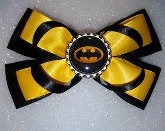 Batman Hair bow, black hair bow, yellow hair bow, hair bow, toddler hair bow, girls hair bow, party hair bow