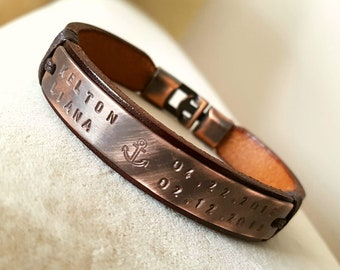 Personalized Leather Bracelet for Men Gift for Dad Men Bracelet Leather Man ID Leather Bracelet Engraved Plate gift for him Boyfriend gift
