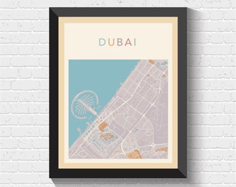 Dubai Map, Dubai Poster, Dubai Print, Map of Dubai, Dubai Street Map, Dubai City Map, Dubai Road Map, Dubai Art, Dubai, UAE