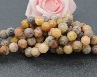 10 round beads 8 mm PG217 crazy agate