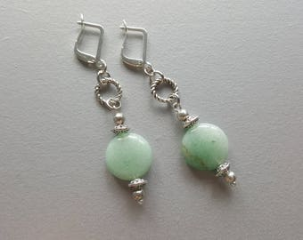 Aventurine Earrings. Silver Gemstone Earrings. Aventurine Drop Earrings. Silver Dangle Earrings. Dainty Earrings. Gemstone Jewelry.