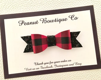 Christmas plaid and glitter bow