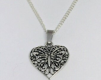 Silver Butterfly Heart Necklace
