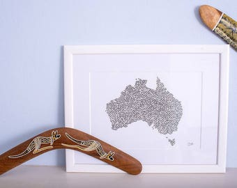 Travel and adventure - Map of Australia -calligraphy print
