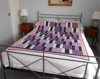 Patchwork single quilt throw bed cover - elephants 01