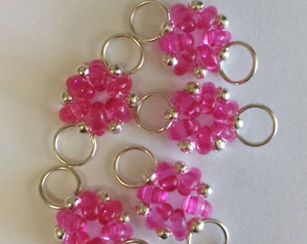 5 connectors superduos pink transparent beads - 12x21mm