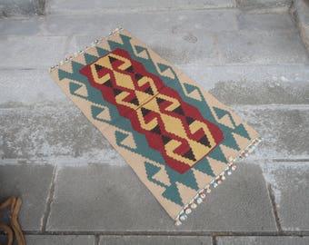 Kilim rug,FREE SHIPPING !!! hand made rug,rustic decor,Turkish vintage rug,44'' x 24'' ,interior design,home decor,flat woven rug,piless rug