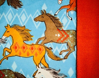 Bright & Colorful Child/ Toddler Sized Horse Patterned Sewn Blanket