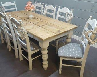 Rustic Farmhouse Shabby Chic 7ft table Set