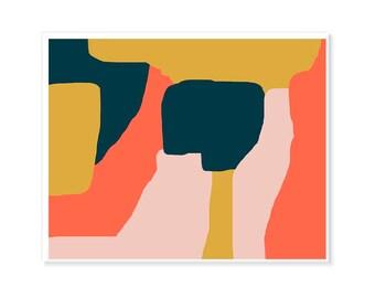 Boho Art Printable Orange Blue Beige Ethno Wall Art Hippie Ciral Pink Navy Printable Large Print Oversized Extra Large Abstract Horizontal