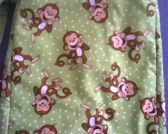 Monkey Print Library Book Bag