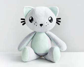 Cuddly Cat - Poofy Cat PLUSHEE gray-mint
