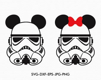 Mickey Minnie Ears star wars empire soldier svg, Minnie Bow Disney christmas, svg dxf for Silhouette Cricut,  Svg Dxf Png files designs